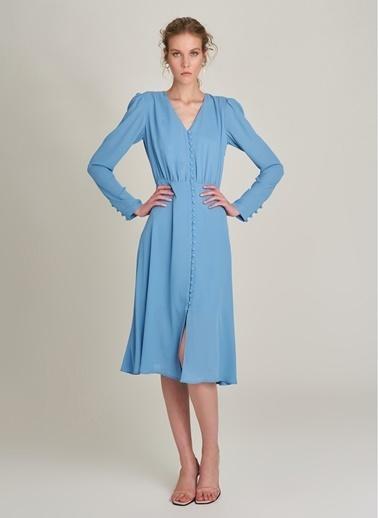 NGSTYLE Önden Düğmeli Midi Elbise Mavi